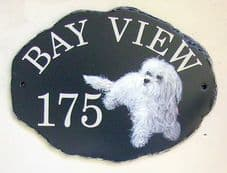 Large Rustic Oval House Sign with hand painted pictorial